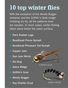 Top ten winter flies. This one includes the link back to the source. Others have posted this image without the link. #FlyFishing