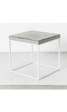 Concrete Topped White Cube - Side Table, End or Coffee Table, Stool Best Price