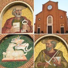 Mosaici sulla facciata della Chiesa SS. Pietro e Paolo di Graffignana. Datati 1940, ad opera di Filiberto Sbardella. Opera, Vintage World Maps, Art, Opera House