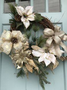 Beautifully Elegant Gold and Cream All winter Grapevine Wreath for Door. Wreaths, wreaths for front door, farmhouse, christmas by DesignsbyDebbyOhio on Etsy Holiday Wreaths, Winter Wreaths, Christmas Decorations, Spring Wreaths, Primitive Wreath, Country Wreaths, Outdoor Wreaths, Gold Christmas, Winter Christmas