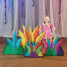 Our Wacky Wilderness Grass Standee Set features yellow, orange, blue and pink leaves.