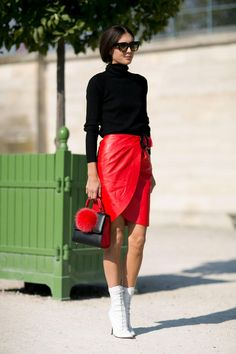 45 Street Style Inspired Ways to Wear a Mini Skirt Through Fall - red leather wrap skirt, chunky turtleneck sweater, and white lace-up booties