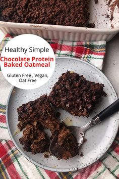 Easy to make with only 5 simple ingredients. This chocolate protein baked oatmeal is healthy and delicious. It's like eating dessert for breakfast. Perfect to make ahead for those busy mornings. Gluten free, vegan, oat free.