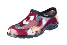 Women's Waterproof Comfort  Shoes - Chicken Print Barn Red  - Includes FREE Half-Sizer Insoles!