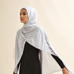 INAYAH | Get ready for Autumn with our new lightweight and breathable hijabs and midis - Light #Grey #Rayon Blend Hijab + Black Classic Round Neck #Midi - www.inayah.co