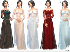 Transparent Gown With Lace Applique by ekinege at TSR • Sims 4 Updates