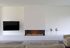 Best Traditional and Modern Fireplace Design Ideas Photos & Pictures Basement Fireplace, Home Fireplace, Modern Fireplace, Living Room With Fireplace, Fireplace Design, Open Plan Kitchen Living Room, New Living Room, Living Room Decor, Muebles Living