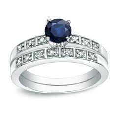 Auriya Platinum /5ct Blue Sapphire and 1/5ct TDW Round Cut Diamond Bridal Ring Set