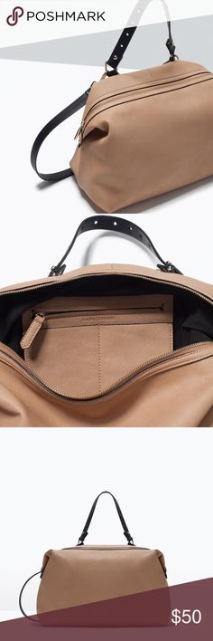 Zara Tan Messenger Bag Tan messenger bag. Hand strap detail and detachable cross-body strap on the side. Lined with inside pocket and several compartments. Zip closure. 26 x 37 x 18 cm. Zara Bags