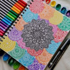 Espero que sí Mandala Doodle, Mandala Art Lesson, Mandala Artwork, Doodle Art Drawing, Mandala Drawing, Unique Drawings, Art Drawings Sketches, Dibujos Zentangle Art, Zentangles