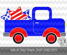 4th of July Truck Design .DXF/.SVG/.EPS Files by KitaleighBoutique