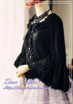 Dear Celine Bell Sleeved Lace Blouse - CB1370114(In Stock) Colours: Cream / Black Material: Chiffon Sizes available in stock: Cream size S, M, L&XLBlack size S, M, L&XL Price: US$69.95