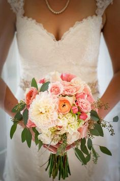 Lush, Romantic Bridal Bouquet in Blush pink, coral, peach- Dahlia, garden rose, ranunculus, lisianthus, hydrangea. Floral by: www.theposhposey.com