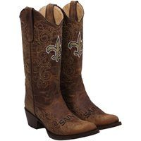New Orleans Saints Womens Flyover Pull-Up Cowboy Boots,Brown.