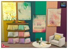 "Lintharas Sims 4: Paintings, Cushions, Walls ""Dreamscape"" • Sims 4 Downloads"