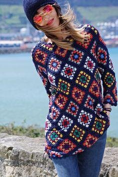 Zara robe mini printemps 2016 (crochet granny squares, patchwork)