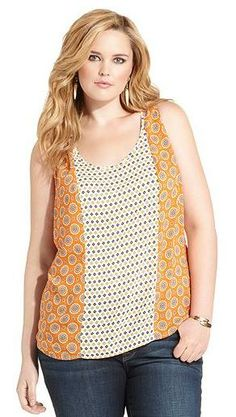 Lucky Brand Jeans Plus Size Top, Sleeveless Mixed-Print Tank