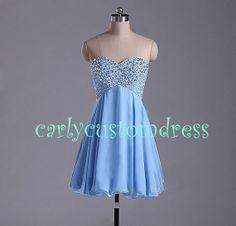 Short Blue Prom Dress/Short Homecoming by CarlyCustomDress on Etsy