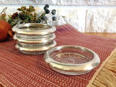 Set of 4 Glass Coasters with Silver Rim by LittleDixieVintage