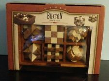 Buxton Mini Wooden Puzzle Set in Oak Finish Storage Box, Set of 6
