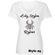 Lady Spyder Ryders Rhinestone Personalized T Shirts, $25.00  Lady Spyder Ryders Rhinestone t shirts with rhinestone spider and name personalization on the back. Order yours today-- http://www.zoeandeve.com