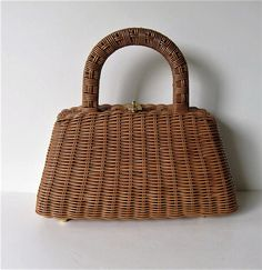 Vintage coated woven Wicker Purse Box Purse 11 x 6