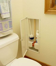 Hy-dit Toilet Plunger Closet--then you don't have to try to figure out how to make that eyesore plunger fit in to the bathroom Bathroom Renos, Bathroom Storage, Small Bathroom, Bathroom Cleaning, Kitchen Storage, Master Bathroom, Bathroom Ideas, Bath Remodel, Built Ins