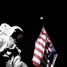 Schmitt with Flag and Earth Above by NASA Goddard Photo and Video, via Flickr