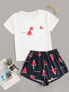 To find out about the Watermelon Print Pajama Set at SHEIN, part of our latest Pajama Sets ready to shop online today! Cute Pajama Sets, Cute Pjs, Cute Pajamas, Girls Pajamas, Pj Sets, Girls Fashion Clothes, Teen Fashion Outfits, Outfits For Teens, Fashion Sets