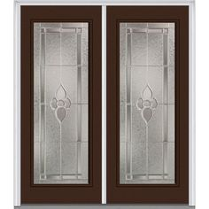 Milliken Millwork 74 in. x 81.75 in. Master Nouveau Decorative Glass Full Lite Painted Majestic Steel Exterior Double Door, Polished Mahogany