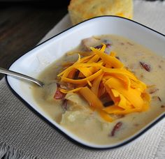 Baked Potato Soup Recipe from addapinch.com