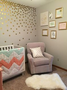 Love the gold dots falling. Mint and Coral nursery, pink and gold nursery, unicorn taxidermy Coral Nursery, Nursery Room, Nursery Ideas, Polka Dot Nursery, Coral Bedroom, Bedroom Brown, Accent Wall Nursery, Gold Nursery Decor, Room Ideas