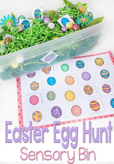 Free Printable Matching Easter Eggs Sensory Bin via @lifeovercs