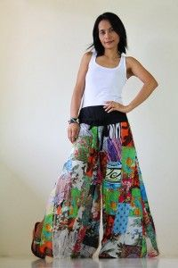 patchwork flowy pants