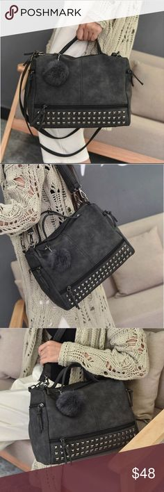 """🆕 Vegan Leather Studded Crossbody Messenger Bag BACK IN STOCK! Brand new. Vegan Leather Studded Crossbody Messenger Bag. Handbag. Include Pom Pom charm. Size - 12.6"""" x 9.4"""" x 5.5"""".  Color - Dark Grey / Black. High quality boutique item.  Last 2 pics are for size references only. Bags Crossbody Bags"""