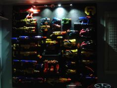 Peg board wall for a Nerf gun collection. Description from pinterest.com. I searched for this on bing.com/images