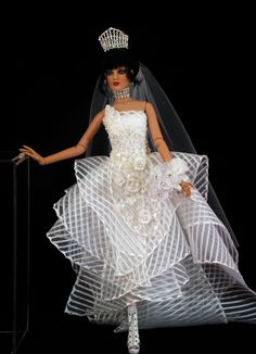 Avant Garde Bride: Doll by Tonner, Necklace, Earrings & Crown by Mike's Jewelry Creations, Gown, Veil & Floral Bouquet by Ina Murphey, Shoes by Paul Zhangby, Photography by Ina Murphey http://stores.ebay.com/Inas-La-Petite-Fashion-Promenade