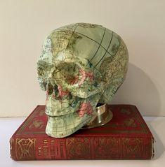 by Dawn Morehead Steampunk Gears, Altered Books, Skulls, Dawn, Book Art, Bones, Decoupage, Mixed Media, Weird