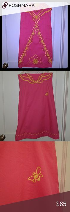 """Lilly Pulitzer embroidered Hotty Pink Bowen dress Fun strapless dress with an empire seam and novelty embroidery.?Cute butterfly detailing on the back. Dress is 27"""" long - almost to the knee, so great for more conservative occasions, but cute for anytime!  Color / print: Hotty Pink Embroidered (Yellow embroidery)? Hidden side zipper closure Fully lined? Boned bodice for a great style Hand wash cold or dry clean.? 100% Cotton Style# 93130? Lilly Pulitzer Dresses Strapless"""