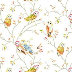 Owl Tree wallpaper from Betsy Olmsted  This would be cute in the background of a bookshelf