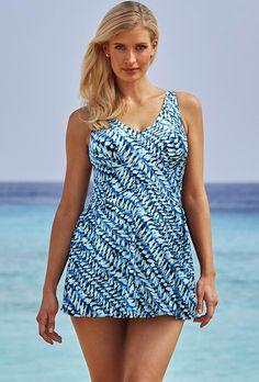 8c2d64effb #SwimsuitsForAll - #Beach Belle Ivy V-Neck 26-34 Swimdress - AdoreWe. Plus  Size BeachPlus Size One PiecePlus ...