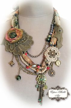 shabby shic sof braided necklace from antique handmade lace trims Bohemain stile