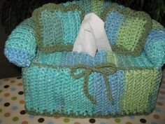Crochet Couch Tissue Box Cover with accent by JillieBeansCrochet, $23.00