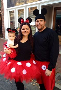 Mickey Mouse Theme for Halloween Family Costumes Mickey And Minnie Costumes, Mickey Costume, Disney Halloween Costumes, Disney Family Costumes, Zombie Costumes, Baby Minnie Mouse Costume, Halloween Costumes For Toddlers, Mother Daughter Halloween Costumes, Halloween Party