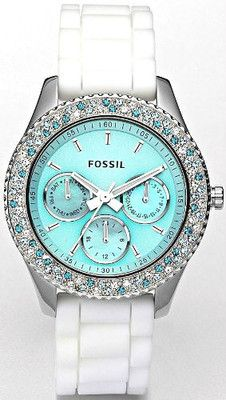 "Must Have!!!   FOSSIL WOMENS ""STELLA"" AQUA FACE TEAL BLUE WHITE WATCH ES2894 NWT"