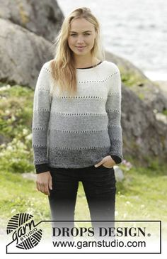 Shades of Grey pullover by DROPS Design. So stylish with simple stripes. Free #knitting pattern