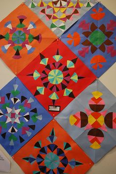 Symmetry collage art project.  Make a quilt with the sections.