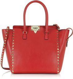 Valentino Garavani Rockstud Leather Tote w/ Shoulder Strap