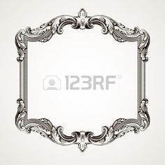 Vector vintage border  frame engraving  with retro ornament pattern in antique rococo style decorative design  photo