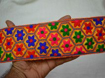 Embroidered designer lace on Yellow Fabric